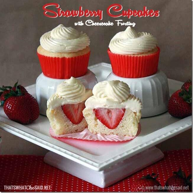 Strawberry Cupcakes with Cheesecake Frosting square