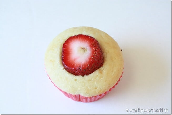 cut cupcake with strawberry