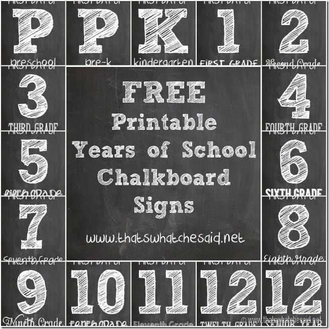 picture about Free Chalkboard Printable named No cost Chalkboard Initial Working day of Faculty Signs or symptoms - Thats What Che