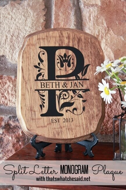 Wooden Sign with Split Letter Monogram in adhesive vinyl