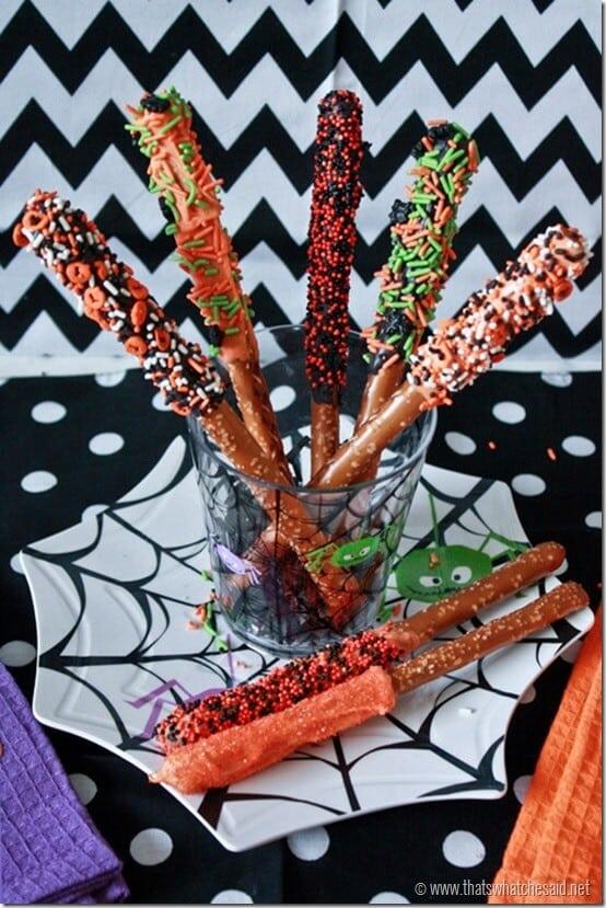 Halloween Pretzel Stick Treat Idea at thatswhatchesaid.net