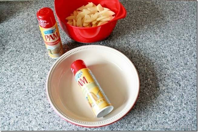 Start your pie pan out with some Pam cooking Spray