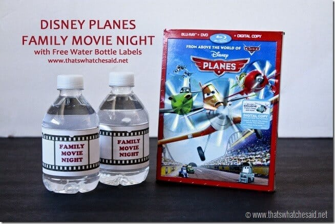 Free Family Movie Night Water Bottle Printables #shop #cbias #OwnDisneyPlanes