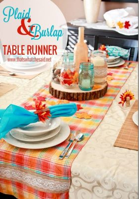 Plaid & Burlap Table Runner on Modern Rustic Thanksgiving Tablescape