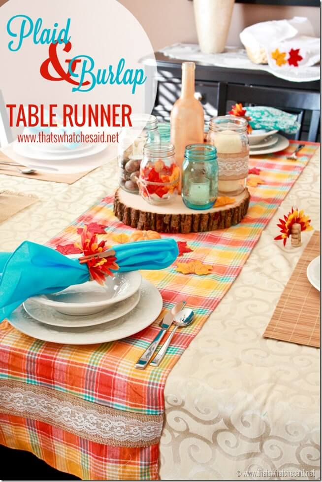 Plaid and Burlap Table Runner at thatswhatchesaid.com