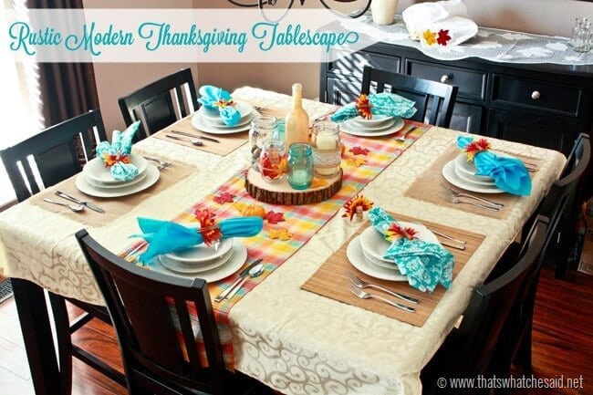 Modern Rustic Tablescape for Thanksgiving using modern colors and textures
