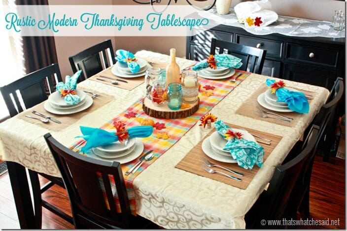Rustic Modern Thanksgiving Tablescape from thatswhatchesaid.com