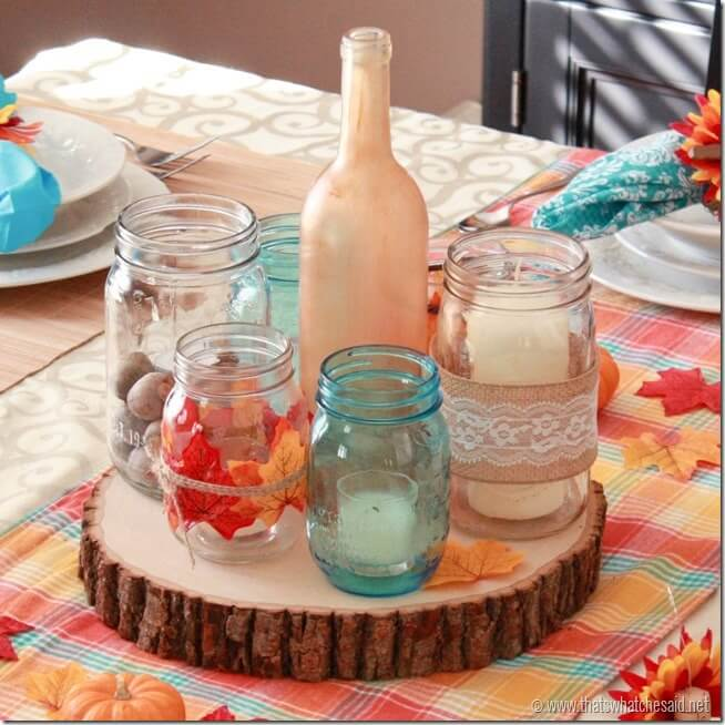 Rustic Wood, Mason Jar, Candle Centerpiece for Rustic Modern Thanksgiving Tablescape