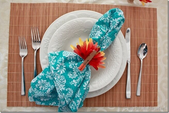 Turquoise Bandana Napkins with Turkey Napkin Rings! Fun take on Thanksgiving Decor!