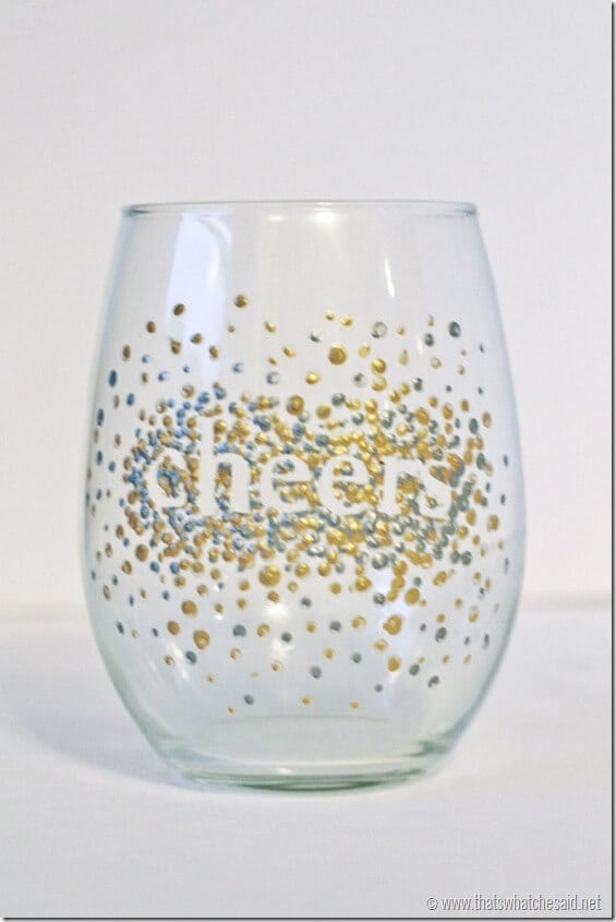 Dot hand painted wine glasses handmadegift that 39 s what for How to decorate wine glasses with sharpies
