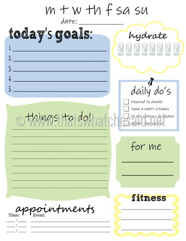 Image of the actual to-do printable