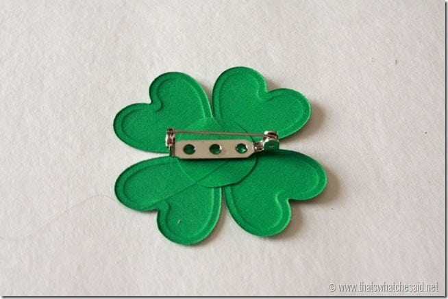 DIY Shamrock Pin - add pin