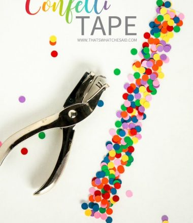 Easily make Festive DIY Confetti Tape. Perfect for stationary, snack bags, gift wrap and more!
