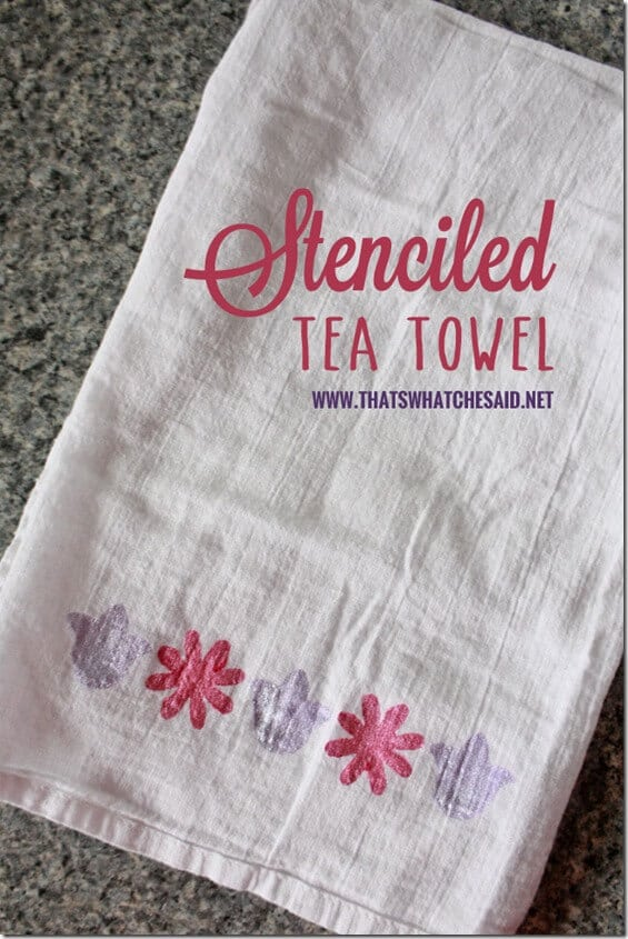 Stenciled Tea Towel at thatswhatchesaid.net