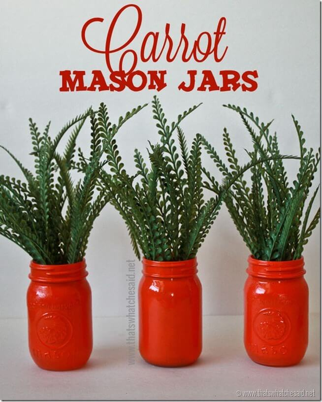 Carrot Mason Jars Decor Idea