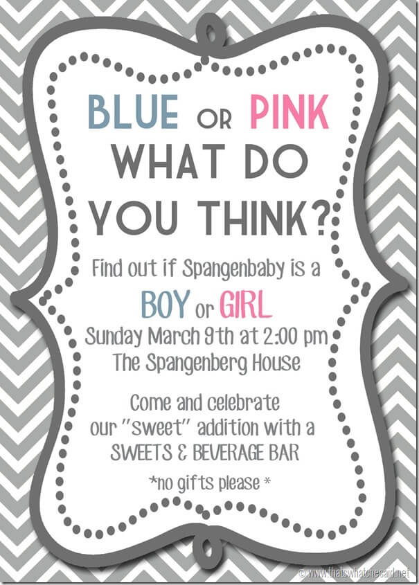 Gender Reveal Invitation Idea