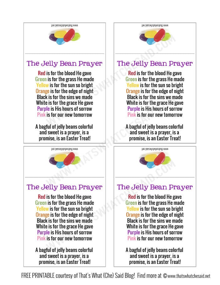 Jelly Bean Prayer Free Printable
