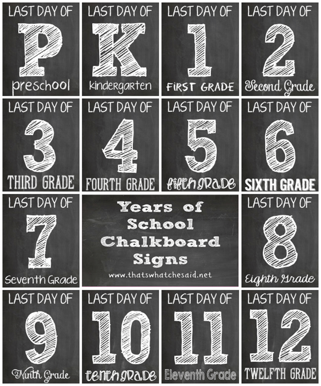 Striking image for last day of school signs printable