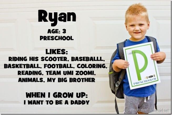 Ryan First Day of School