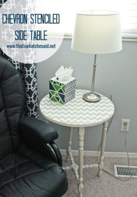 Chevron-Stenciled-Side-Table-at-thatswhatchesaid.net
