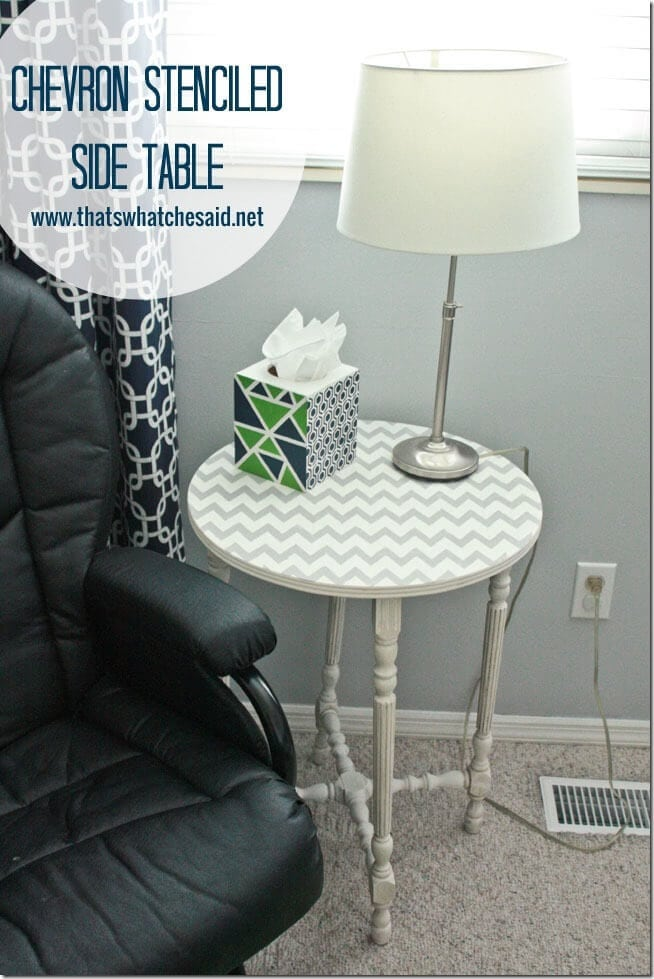 Chevron Stenciled  Side Table at thatswhatchesaid.net