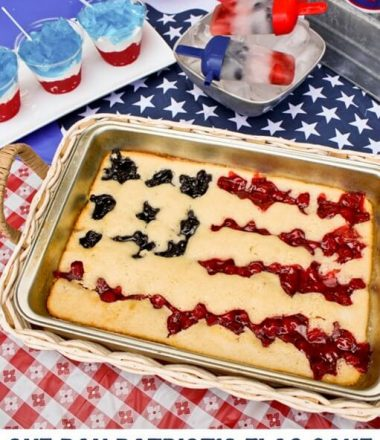 Patriotic One Pan Flag Cake from thatswhatchesaid.com