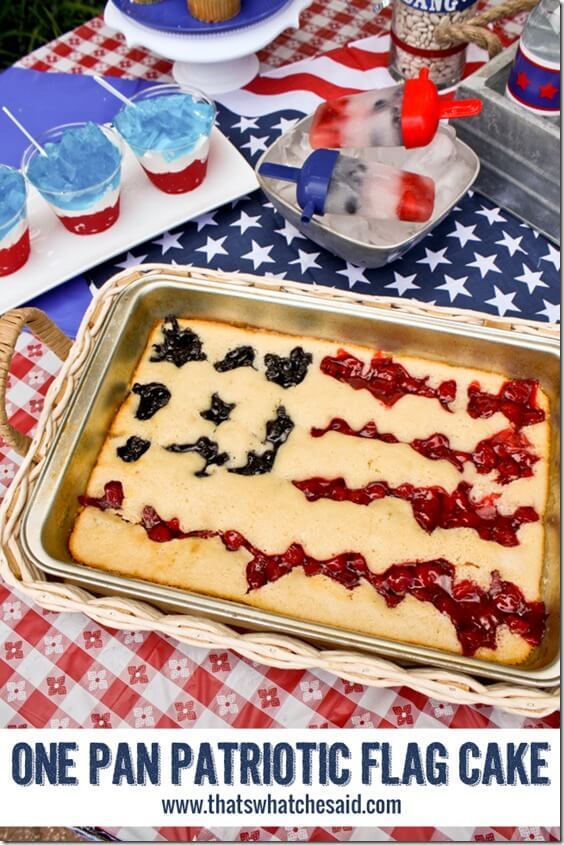 One Pan Patriotic Flag Cake from thatswhatchesaid.com