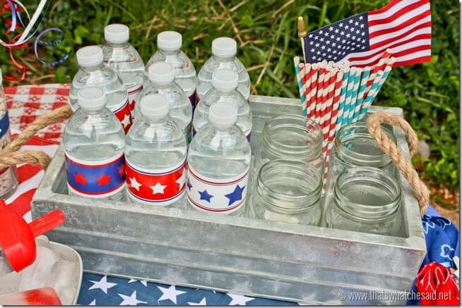 Patriotic Free Party Water Bottle Printables