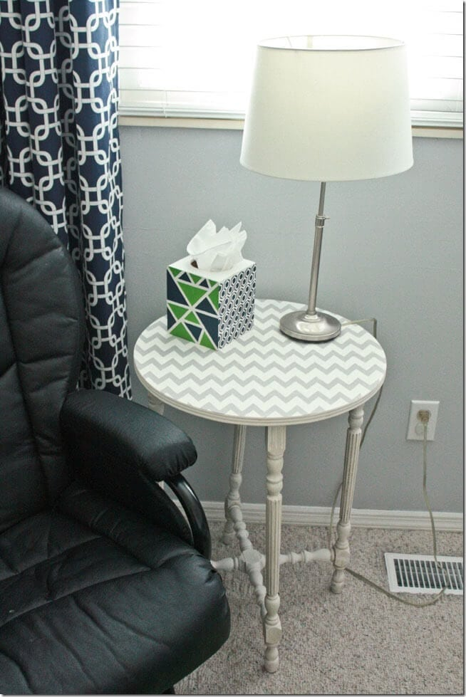 Chevron Stenciled  Side Table with Chalk Paint at thatswhatchesaid.net
