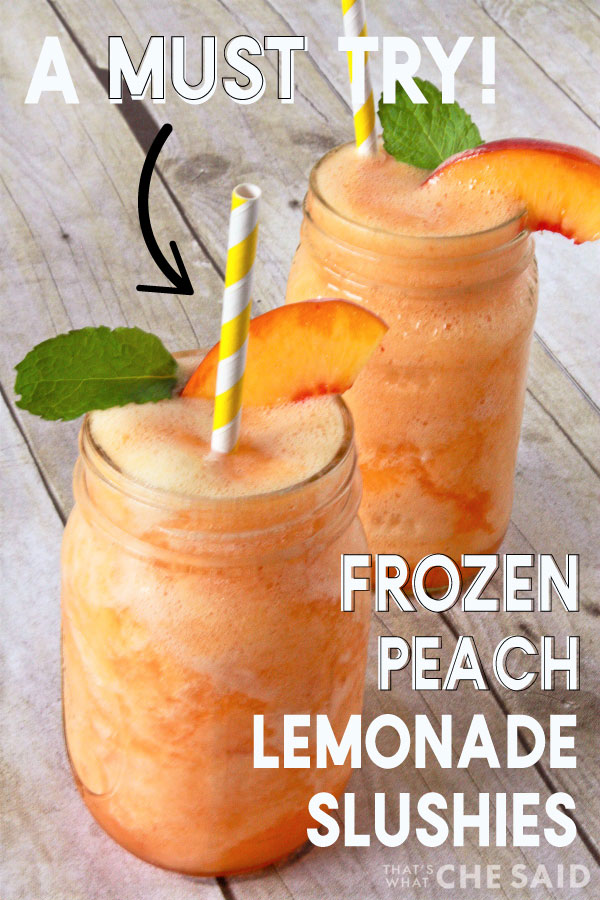 Two mason jars filled with Peach Lemonade Slushie, garnished with a peach slice, mint leaf and straw