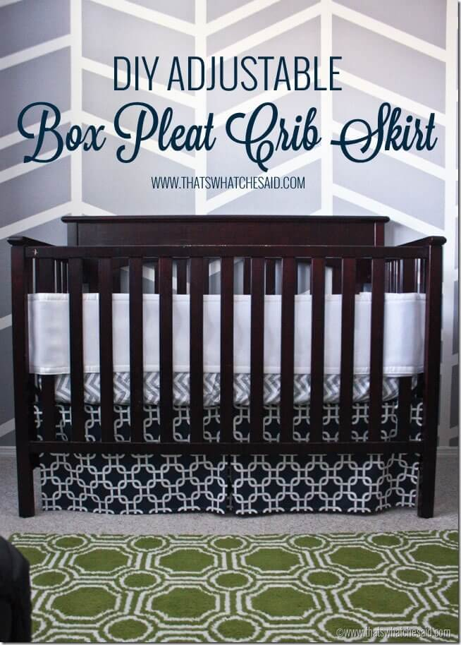 DIY Adjustable Box Pleat Crib Skirt Tutorial at thatswhatchesaid.com