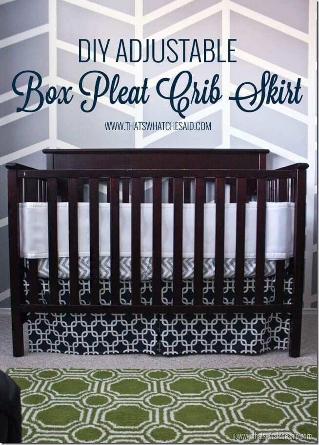 Easiest Adjustable Box Pleat Crib Skirt Tutorial That S
