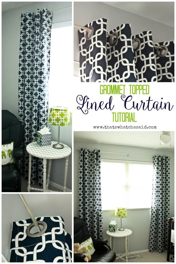 Grommet Topped Lined Curtain Tutorial at thatswhatchesaid.com
