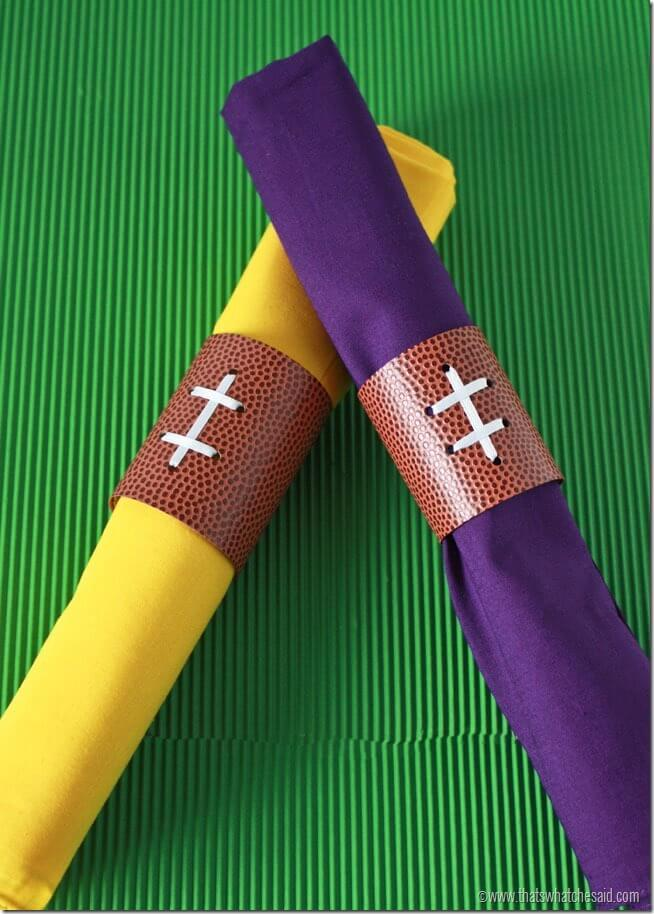 Team Color Football Napkin Rings at thatswhatchesaid.net