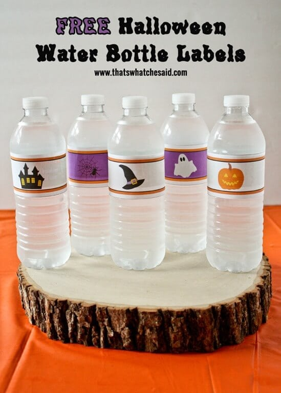 Free Halloween Water Bottle Labels at thatswhatcheaid.com