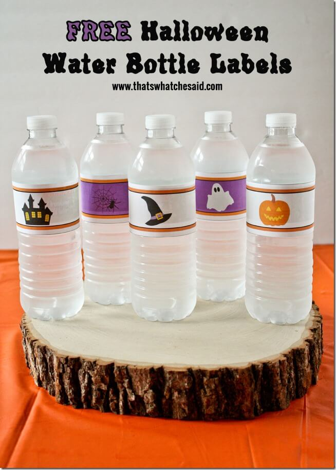 graphic about Printable Halloween Labels identify Halloween H2o Bottle Labels