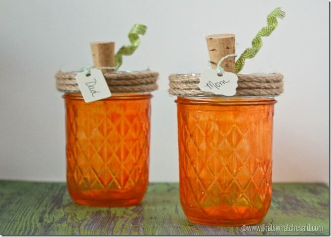 Thanksgiving Pumpkin Mason Jar Place Cards at thatswhatchesaid.net