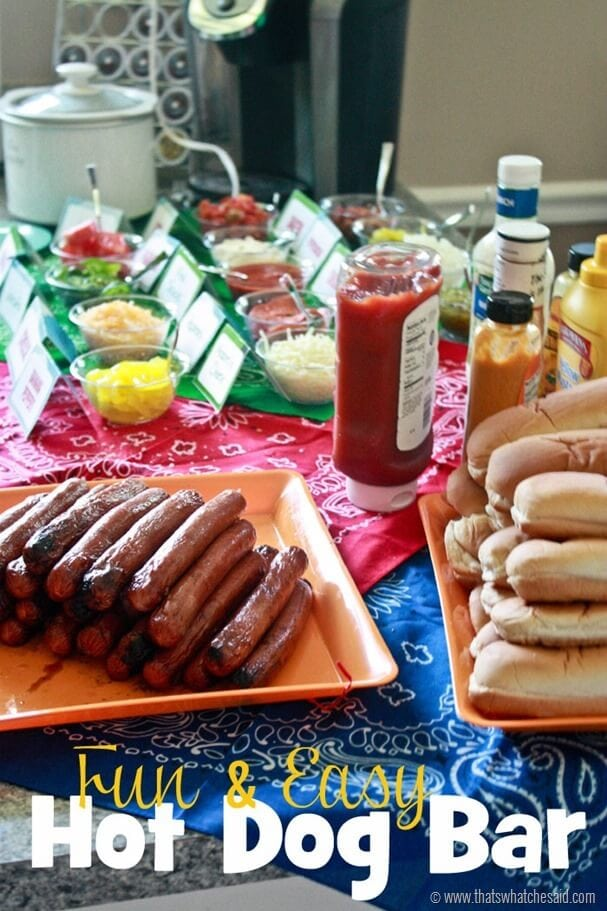 Fun & Easy Hot Dog Bar at thatswhatchesaid.com