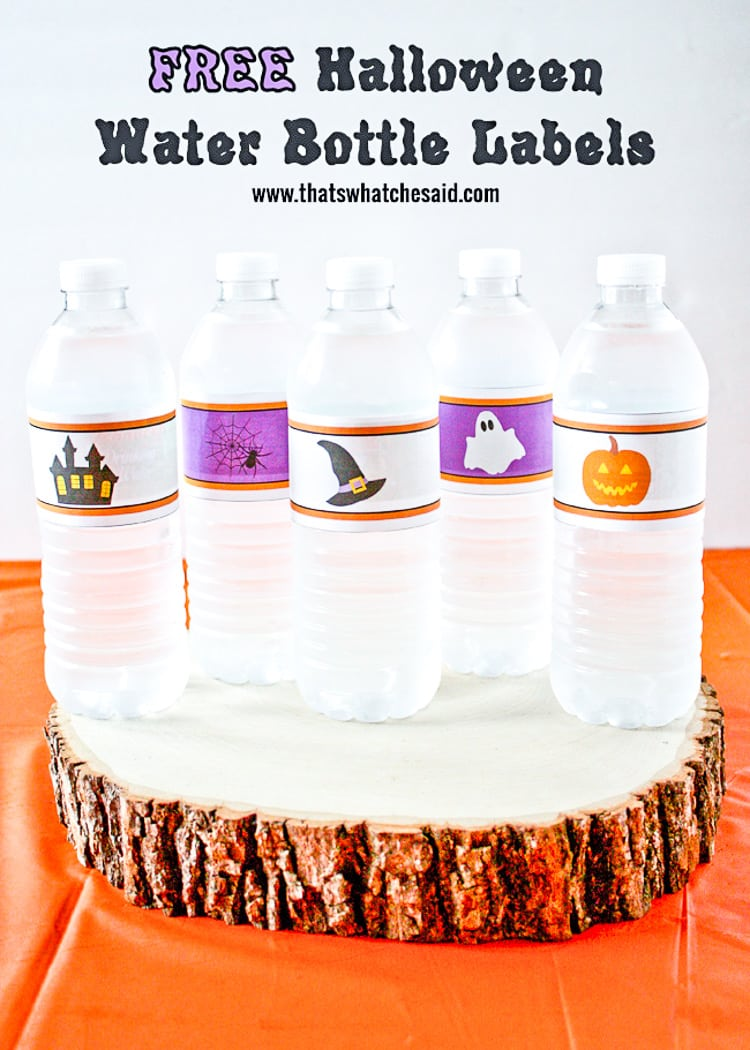 Water bottles with DIY Printble Halloween Labels