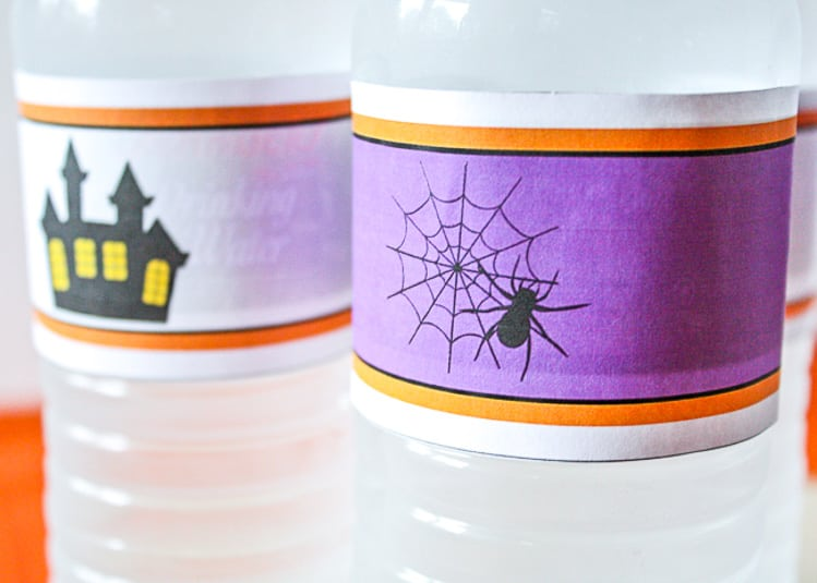 Spider and haunted house water bottle labels