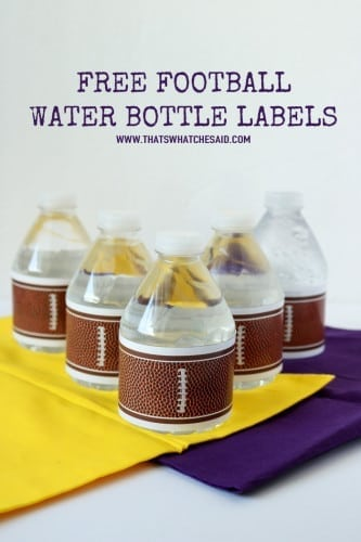 Free Football Water Bottle Labels at www.thatswhatchesaid.com
