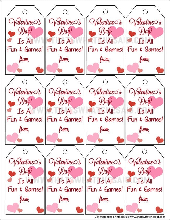 Fun & Games Valentine Free Printables at www.thatswhatchesaid.com