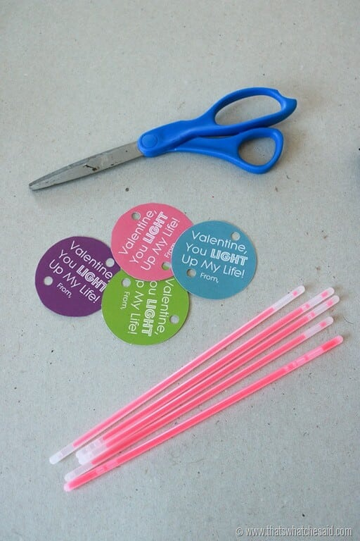 Glow stick Valentine with a free printable tag - Our ... |Pinterest Glow Stick Valentines