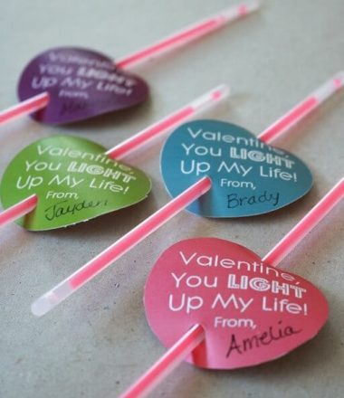 Glow Stick Valentine Free Printable! Perfect Non Candy Valentine's Day Idea!