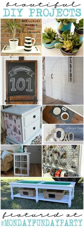 10 Beautiful DIY Projects featured at Monday Funday Link Party! Join us each Sunday evening at 6 pm CST for the best link party on the blogosphere!