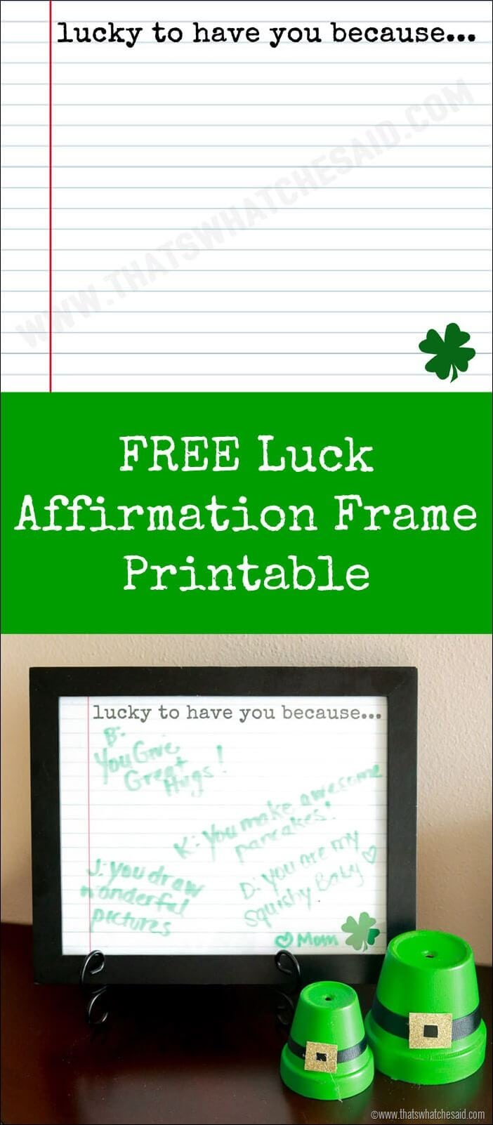 Free Luck Affirmation Printable