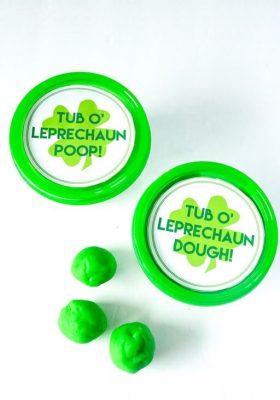Leprechaun Poop Green Play Dough with Free Printable