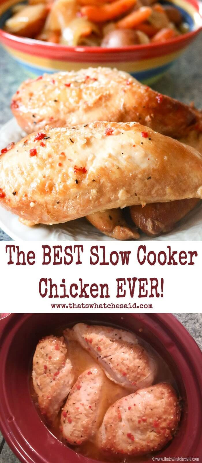The Best Slow Cooker Chicken Ever - You NEED this in your life!