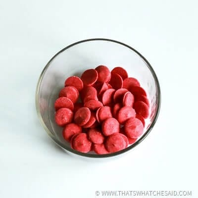 Red Wilton Candy Melts before they are melted
