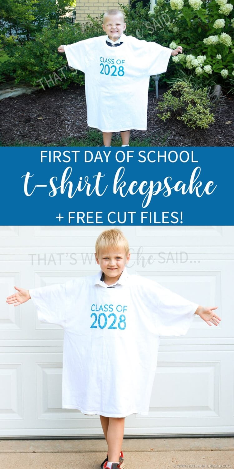 First Day of School Keepsake Tshirt Free Cut File